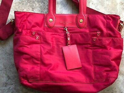 MARC BY MARC JACOBS Bright Pink Preppy Nylon Eliz-A-Baby Diaper Bag Tote~ EUC