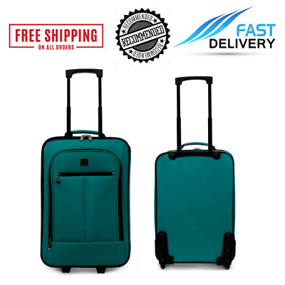 Carry On Luggage Suitcase 18 In Teal Small Cabin Bag Lightweight Rolling Baggage