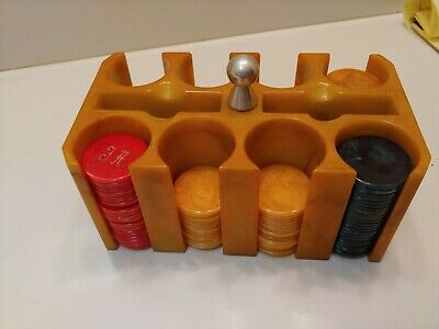 Vintage Butterscotch Bakelite Catalin Poker Chip Caddy Holder With 110 Chips