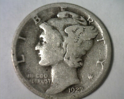 1927-D MERCURY DIME GOOD G NICE ORIGINAL COIN FROM BOBS COINS INC. FAST 99c SHIP