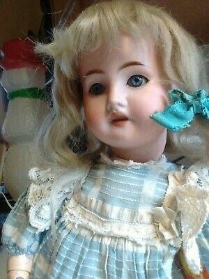 """Antique German Or French Bisque Head Child Doll Petite Size 16"""""""