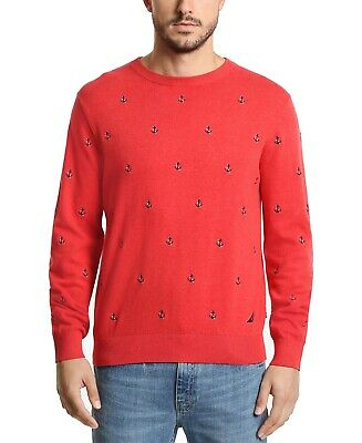 Nautica Mens Sweater Red Size 2XL Crewneck Embroidered Ribbed Trim $89 001
