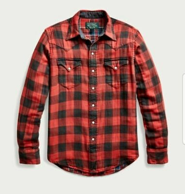 New Mens Polo Country Ralph Lauren Slim Fit Large Plaid Twill Shirt Red/ Multi