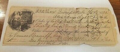Old 1888 Check From Davenport,Iowa