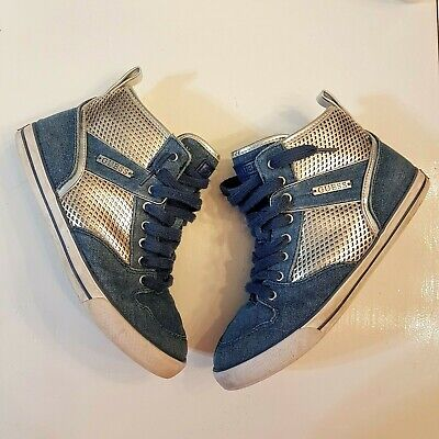 Guess High Top Denim Sneakers Blue Silver Leather Sole #289 Shoes 7 M Womens VTG