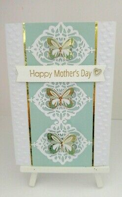 Handmade Mother's Day Card:Butterflies & Hearts (Green)