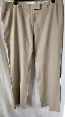 Beige Linen Mix M&S Business Casual Summer Straight Trousers Plus Size 20 EX CON