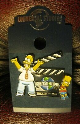 The Simpsons  UNIVERSAL STUDIOS PIN BADGES  SET  Bart & Homer Simpson