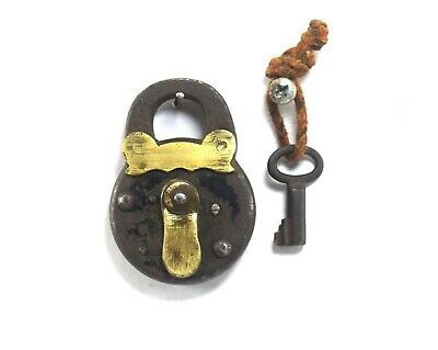 Antique Iron Padlock With Brass Fitted Nice Unique Design Iron Padlock G2-383 AU