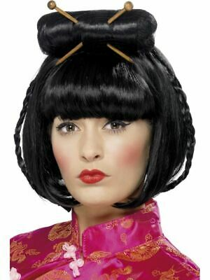 Oriental Wig Chinese Lady Black Ladies Geisha Fancy Dress Costume Accessory