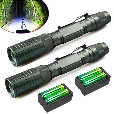 Tactical 900000Lumen 5Modes T6 LED Zoom Flashlight Aluminum Torch +18650&Charger