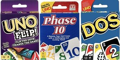 Phase 10 - DOS & UNO Flip Card Game Bundle Brand New In Stock