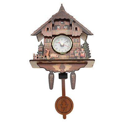 Cuckoo Wall Clock Cottage Style Mount Wood Analog Auto Swinging Pendulum