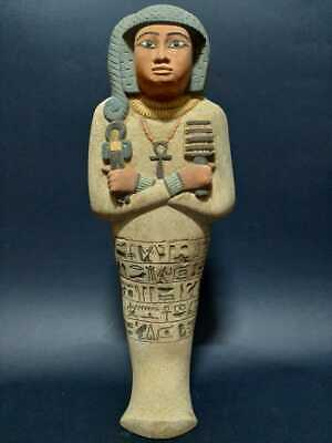 Rare Ancient Egyptian Antiques Ushabti Shabti Queen Statue Luxor Stone Bc