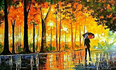 """Leonid Afremov-""""Bewitched Park""""-Original Oil/Gall Wrapped Canvas/Hand Signed/COA"""