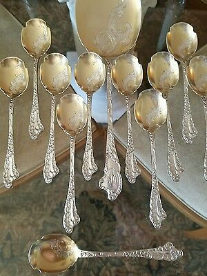 Henri Soufflot French Sterling Silver Ice Cream Set with Vermeil / Gold Bowls