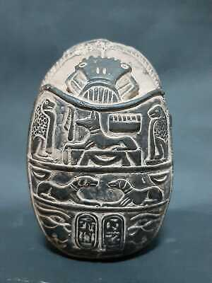 Rare ANCIENT EGYPTIAN ANTIQUES Scarab Beetle Khepri EGYPT Carved Stone 1300 BC