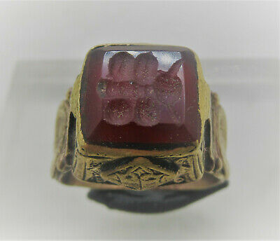 Wonderful Late Medieval Islamic Ottomans Gold Gilded Seal Ring With Agate Stone