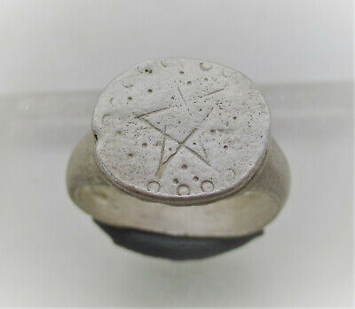 Ancient Byzantine Silver Crusaders Seal Ring With Star Motif Rare