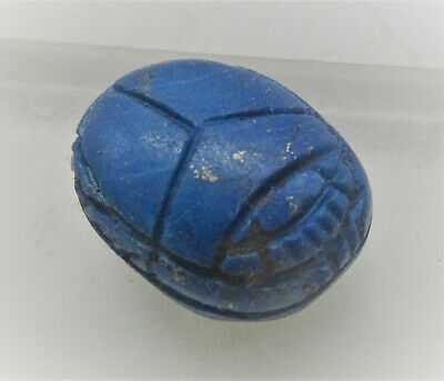 Beautiful Ancient Egyptian Lapis Lazuli Carved Scarab Scaraboid With Heiroglyph