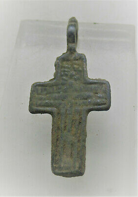 Beautiful Late Medieval Religious Bronze Crucifix Cross Amulet Wearable
