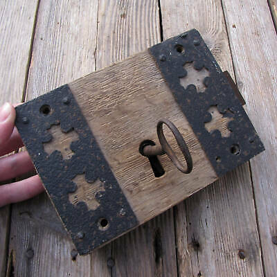Antique Oak and Iron Decorative Door Lock with WORKING KEY