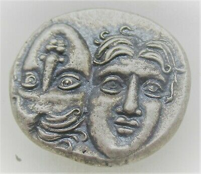 Ancient Greek Ar Silver Drachm Coin Istros Twins And Eagle Very Fine