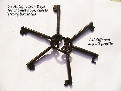 6 x Antique some Victorian other later iron Keys Strong box, padlocks etc
