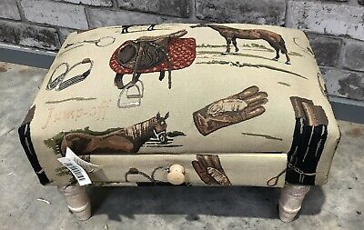 New Horse Tapestry Footstool With Drawer / Sewing Stool Farm House Style Country