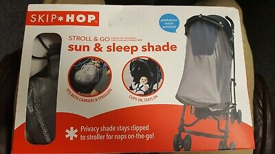 Skip Hop Stroll and Go Sun and Sleep Shade Stroller Cover, Silver NEW