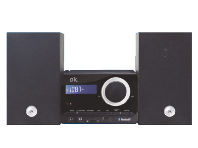 Microcadena - OK OMH 4060BT-B, 4W Bluetooth, CD, Radio FM, USB, Mp3, Negro