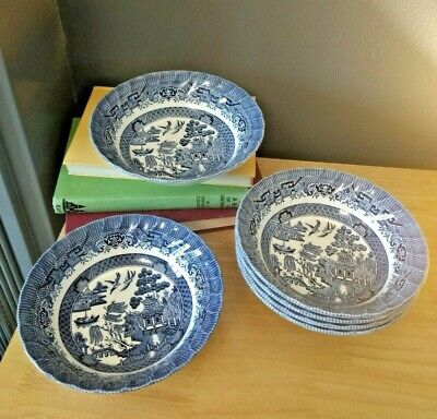 Set of 6 Vintage/ Shabby Chic Wessex collection BLUE WILLOW 6 CEREAL BOWLS 15cm