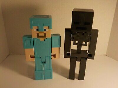 """MINECRAFT Action Figures 8"""" Steve Diamond Armor and Wither Skeleton 8.5"""""""