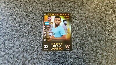 Match Attax 101 Collection 2019 Sergio Aguero🌟Gold🌟Limited Edition Mint