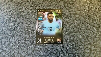 Match Attax 101 Collection 2019 Sergio Aguero⭐Silver⭐Limited Edition Mint