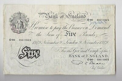 B270 Beale 1949 White £5 Banknote O90 In Good Fine To Near Very Fine Condition