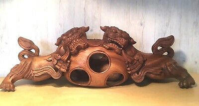 Antique Hand Carved ONE PIECE Mahogany Wood Chinese Double Foo Dogs
