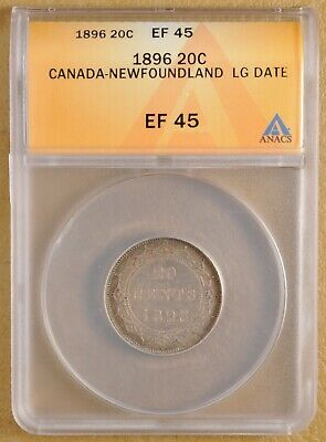 1896 Canada Newfoundland Silver 20 Cents - Large Date - ANACS EF 45