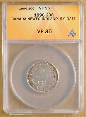 1896 Canada Newfoundland Silver 20 Cents - Small Date - ANACS VF 35