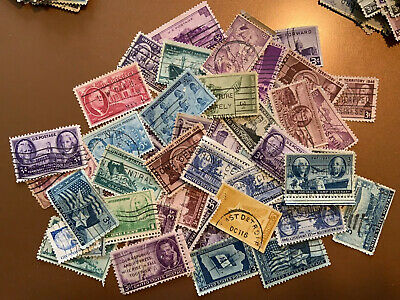 Vintage Lots Of 1940's 50 Count Used, US Stamps In Glassine Envelopes off Paper
