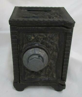 Vintage Cast Iron Combination Lock Safe Piggy Bank ~ SS