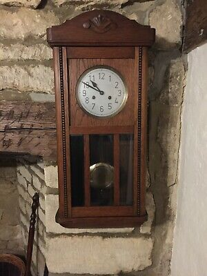 Vintage Oak Wall Clock with Glass Casing to Front and Silvered Dial (Pendulum)