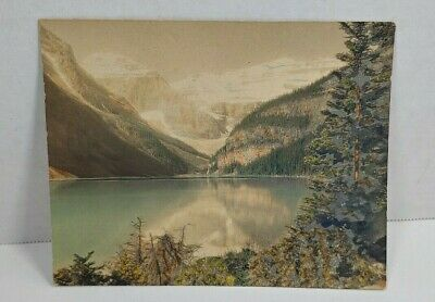 Vintage Hand Tinted Colored Photograph Lake In The Mountains