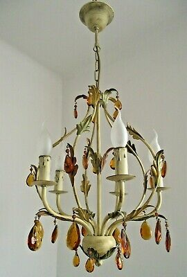 Vintage Italian Tole Ware 5 Arm Cage Chandelier Adorned With Amber Crystals 1528