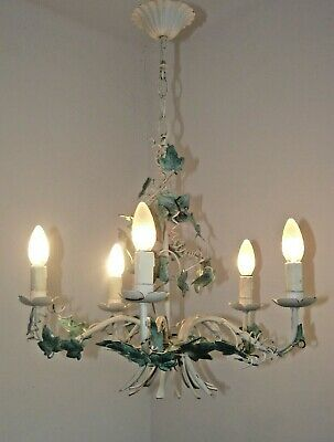 French Vintage Ivy Leaf Tole Ware 5 Arm Tied Bouquet Style Chandelier 1655