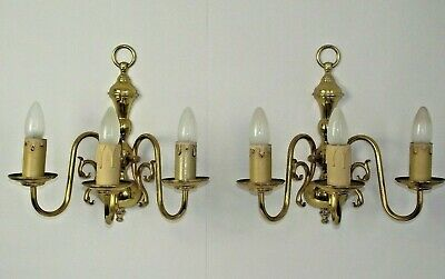 Stunning Pair Large French Vintage Brass Flemish Style Triple Wall Sconces 1680