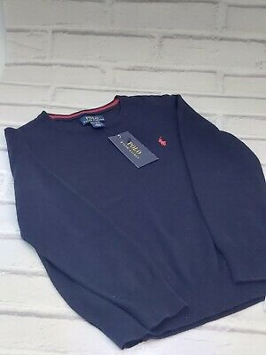 Boys 7 Years Polo Ralph Lauren Crew Neck Jumper Sweater Navy Blue