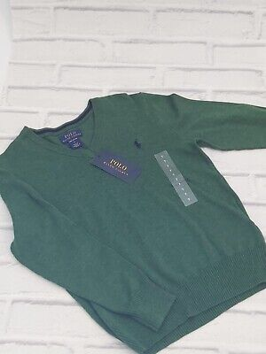 Boys 7 Years Polo Ralph Lauren Crew Neck Jumper Sweater Green
