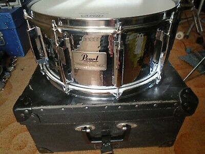 """Snare14""""x6,5"""" PEARL Hammered Steel JAPAN 90s +Hardcasse `Top Zustand"""