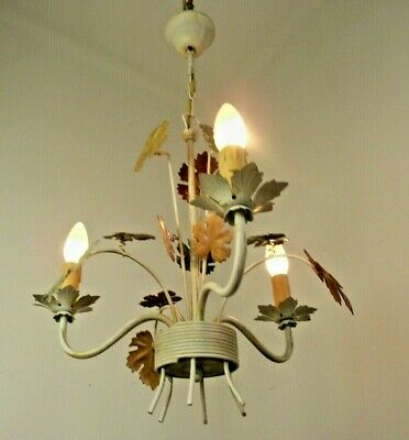Vintage French Autumn Lead Tied Bouquet Style 3 Arm Tole-Ware Chandelier 1613